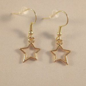 Gold Star Dangle Earrings Hypoallergenic Hooks